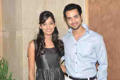 TV actor Neha Saxena (Amita Ka Amit) & Shakti Arora (Pavitra Rishta) at Mahavir Mehta's anniversary bash,
