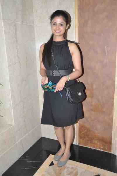 TV actor Ruchi Savarn (Ghar Aaja Pardesi) at Mahavir Mehta's anniversary bash.