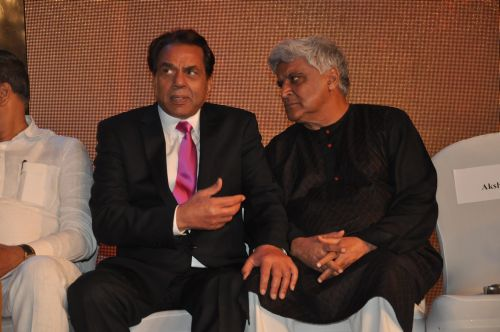 Dharmendra with Javed Akhter at the launch of Jai Maharashtra News Channel at Grand Hyatt