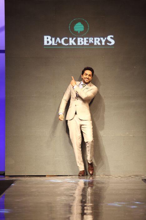 Ayushmann Khurrana walking the ramp donning the Blackberrys summer 13 collection at Blackberrys Sharp Nights