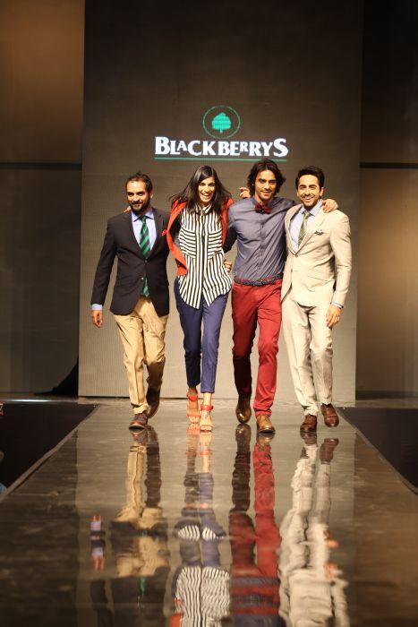 (L-R) Karsh Kale, Anushka Manchanda, Arjun Rampal and Ayushmann Khurrana walking the ramp donning Blackberrys summer 13 collection at Blackberrys Sharp Nights