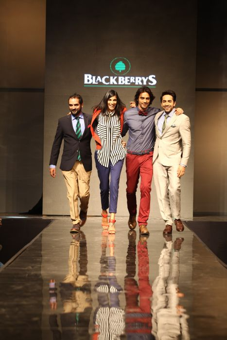 (L-R) Karsh Kale, Anushka Manchanda, Arjun Rampal and Ayushmann Khurrana walking the ramp donning Blackberrys summer 13 collection at Blackberrys Sharp Nights