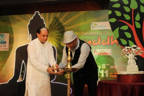 Mr. Subhash Chandra and Dr. BK Modi lighting the lamp and unveiling Zee TV's new show - Buddha
