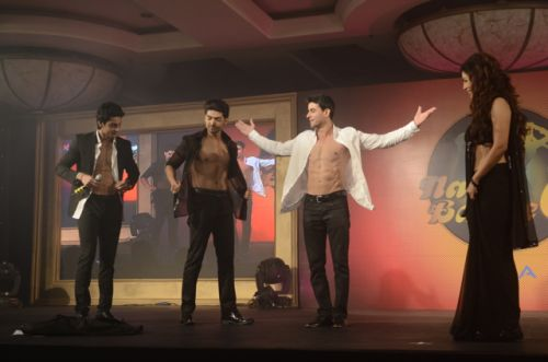 Hosts Karan Wahi and Gaurtam Rode with Gurmeet and Debina at the Press conference of Nach Baliye-6