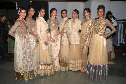 Amrita dasgupta, Aakriti anand, Aakshi Khari, Sucheta Sharma, Sanghya Lakhanpal, Malavika Raj, Alesia Raut, Kavita Kaharayat at the CPAA show sporting the Vikram Phadnis collection