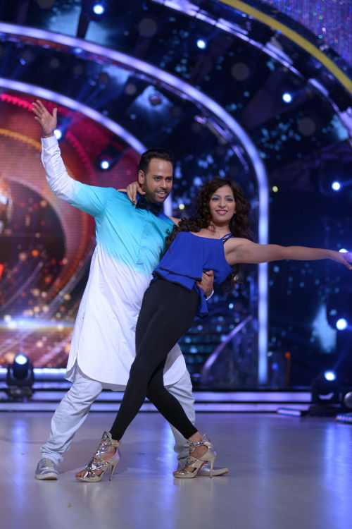 Contestant Andy with his choreographer Bhavini