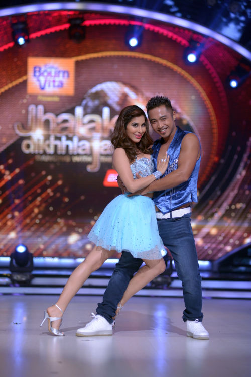 Contestant Sophie Choudry with her choreographer Deepak