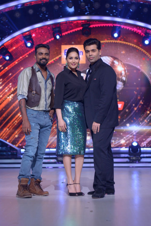 (L-R) Remo D'souza, Madhuri Dixit and Karan Johar