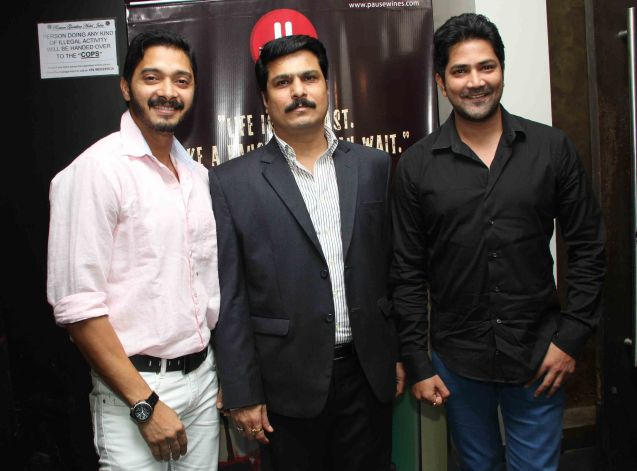 ​Shreyas Talpade, Rajesh Patil and Aniket Vishwasrao  at wine tasting evening by Pause Wines in Juhu
