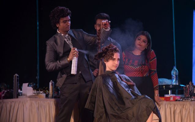 9. Anurag demonstrating and Styling a Model during Hair and Makeup Seminar DSC_4919