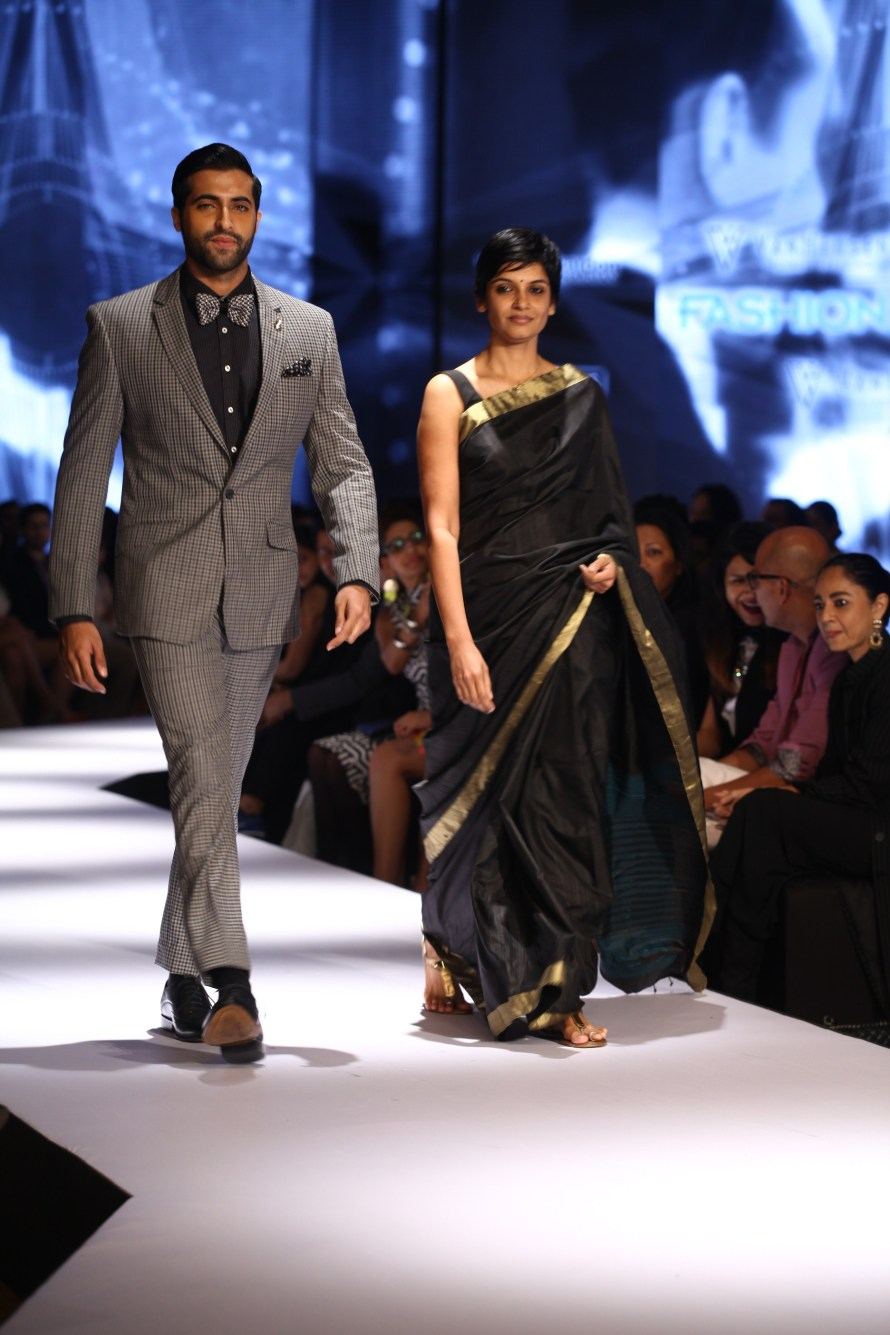 Akshay Oberoi with Vani Kannan, Head of Design at Van Heusen on Day 2 of Van Heusen + GQ Fashion Nights 2015_1
