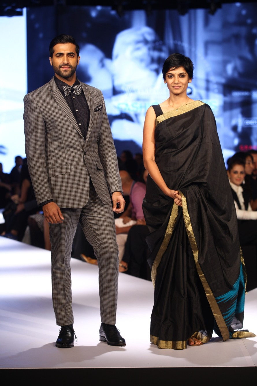 Akshay Oberoi with Vani Kannan, Head of Design at Van Heusen on Day 2 of Van Heusen + GQ Fashion Nights 2015_2