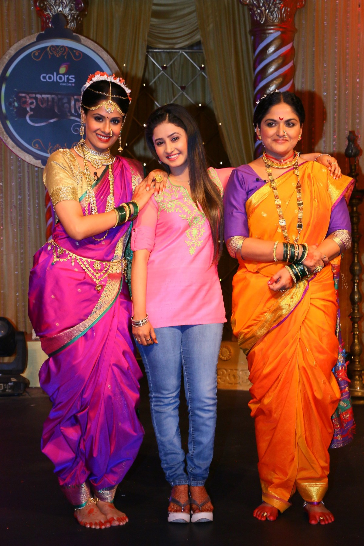 Chhavi Mittal as Tulsi, Sana Sheikh as Aradhya and Indira Krishnan as Kumudini perform at COLORS' Krishndasi launch