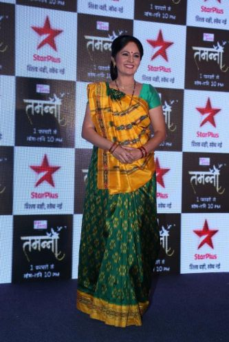 Mother - Saroja Solanki aka RajLaxmi poses for the camera at the press launch of Star Plus's new show Tamanna..