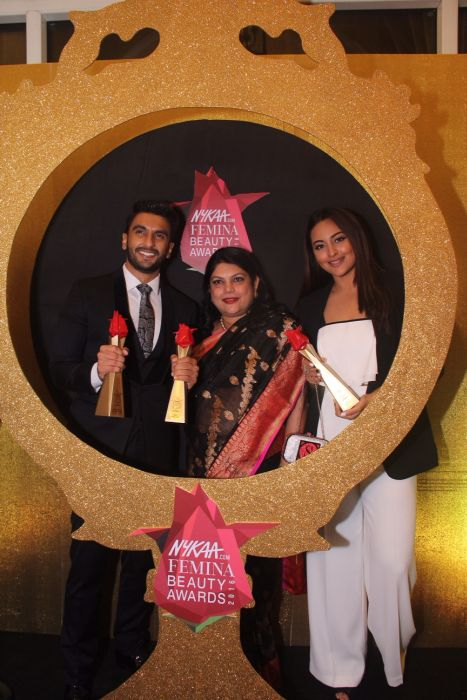 Falguni Nayar Founder Nykaa.com with Ranveer Singh Sonakshi Sinha