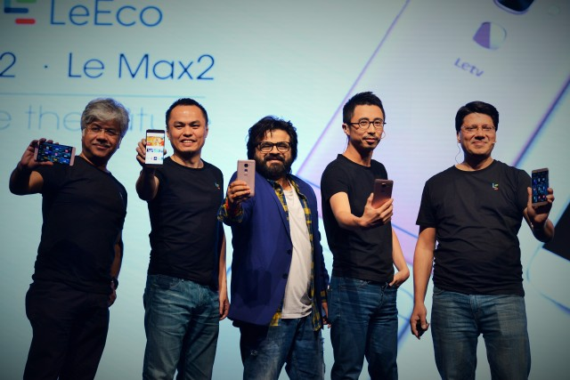 L-R - Debashish Ghosh, Tin Mok, Pritam, Brian Hui, Atul Jain at the launch of Le2, LeMax2 and LeMall in New Delhi on June 8