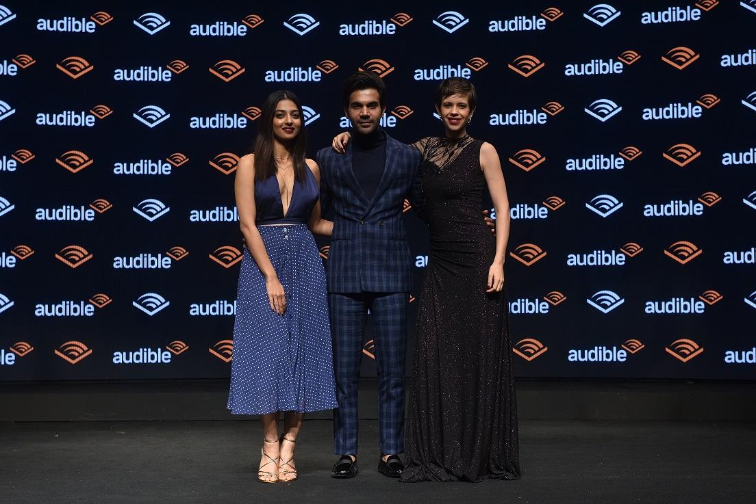 Audible Narrators and Actors Radhika Apte, Rajkummar Rao and Kalki Koechlin at the launch of Audible India.JPG