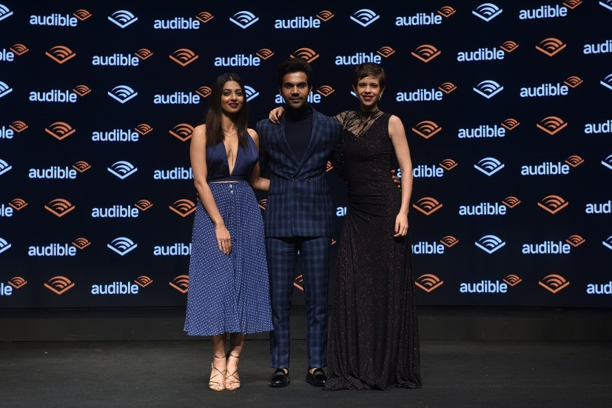 Audible Narrators and Actors Radhika Apte, Rajkummar Rao and Kalki Koechlin at the launch of Audible India.JPG