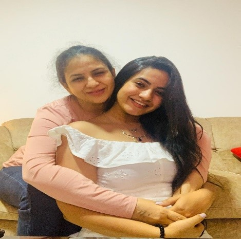 Meera Deosthale with mother